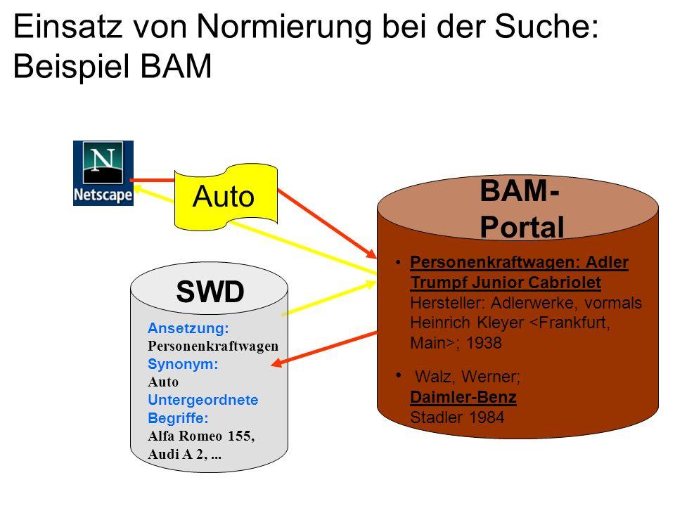 Einsatz von Normierung bei der Suche: Beispiel BAM