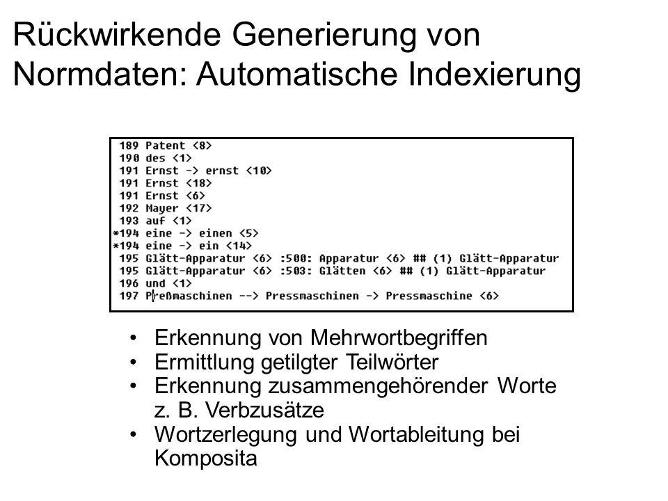 Rückwirkende Generierung von Normdaten: Automatische Indexierung