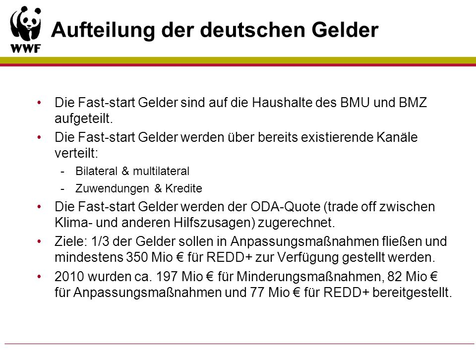 Aufteilung der deutschen Gelder
