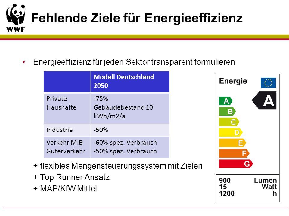Fehlende Ziele für Energieeffizienz
