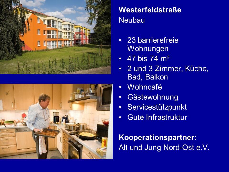 Westerfeldstraße Neubau. 23 barrierefreie Wohnungen. 47 bis 74 m². 2 und 3 Zimmer, Küche, Bad, Balkon.