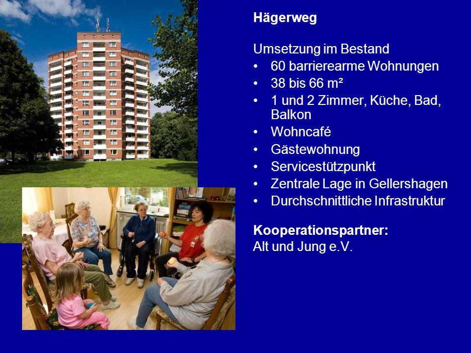 Hägerweg Umsetzung im Bestand. 60 barrierearme Wohnungen. 38 bis 66 m². 1 und 2 Zimmer, Küche, Bad, Balkon.