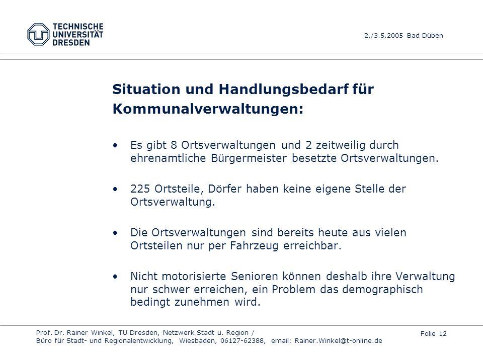Situation und Handlungsbedarf für Kommunalverwaltungen: