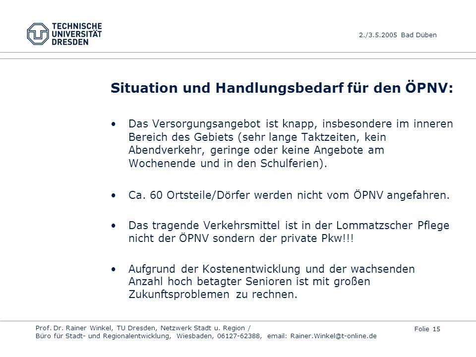 Situation und Handlungsbedarf für den ÖPNV: