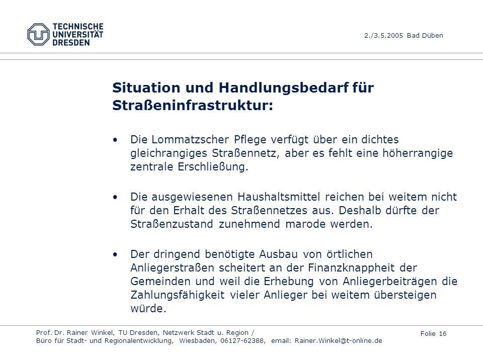Situation und Handlungsbedarf für Straßeninfrastruktur: