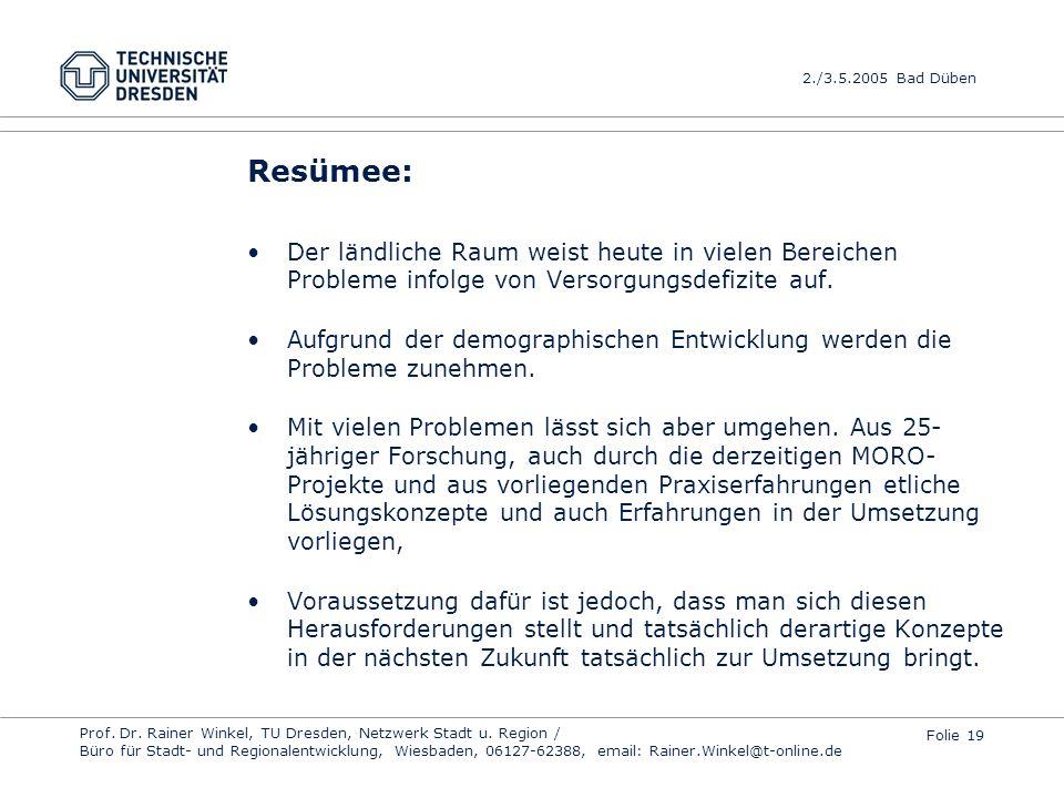Resümee: Der ländliche Raum weist heute in vielen Bereichen Probleme infolge von Versorgungsdefizite auf.