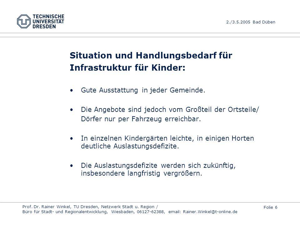 Situation und Handlungsbedarf für Infrastruktur für Kinder: