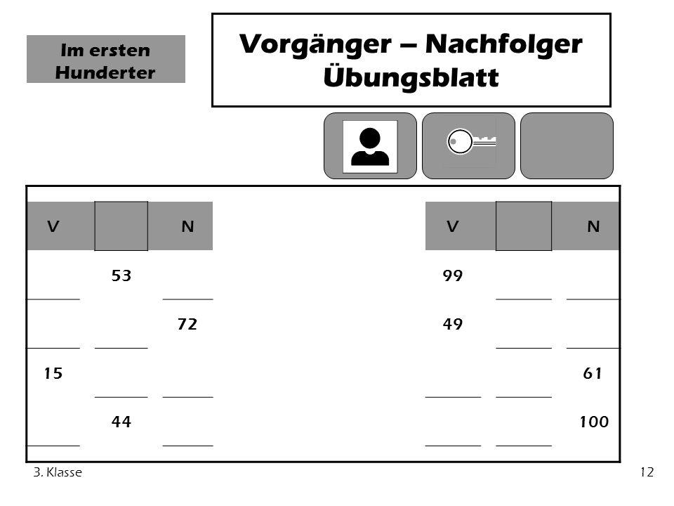 Vorgänger – Nachfolger Übungsblatt