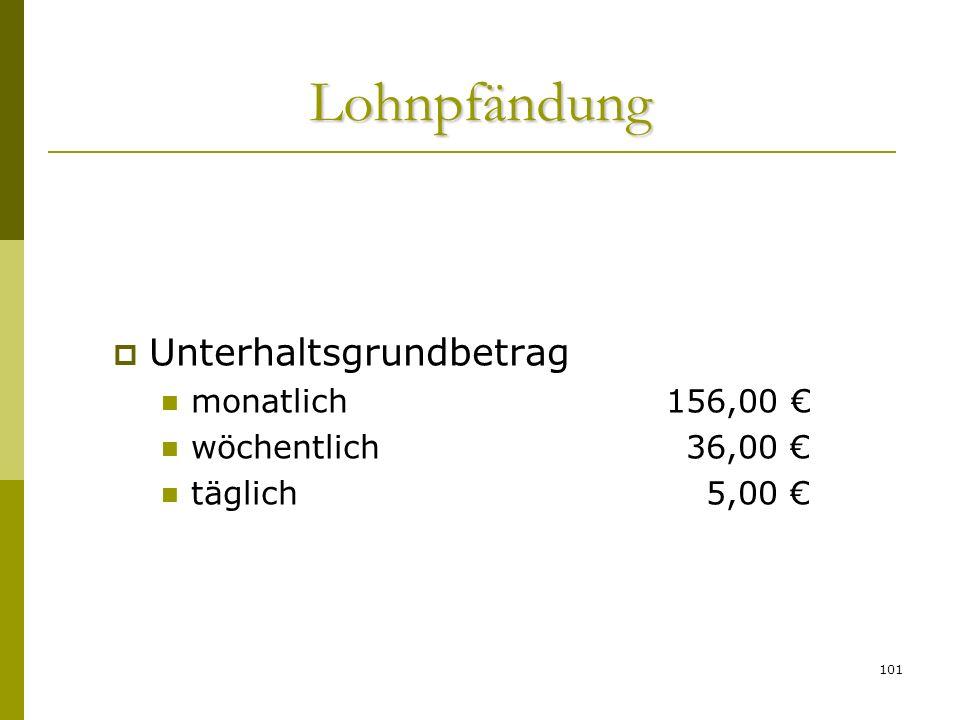 Lohnpfändung Unterhaltsgrundbetrag monatlich 156,00 €
