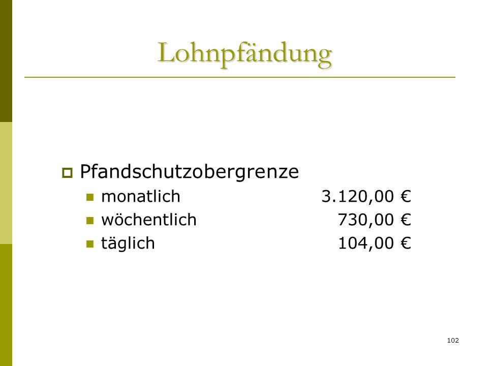 Lohnpfändung Pfandschutzobergrenze monatlich 3.120,00 €