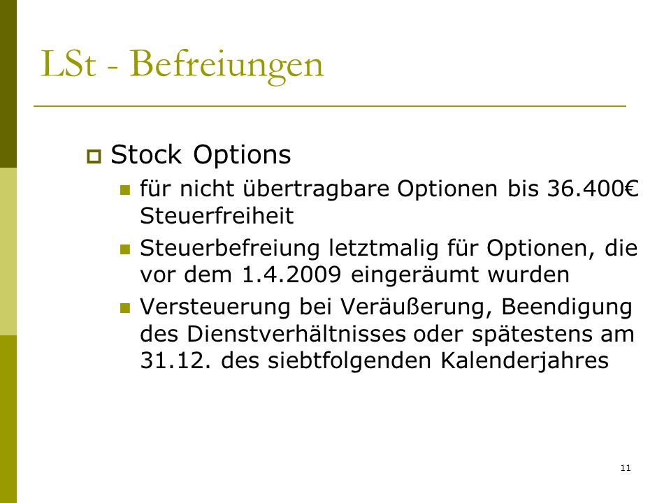 LSt - Befreiungen Stock Options