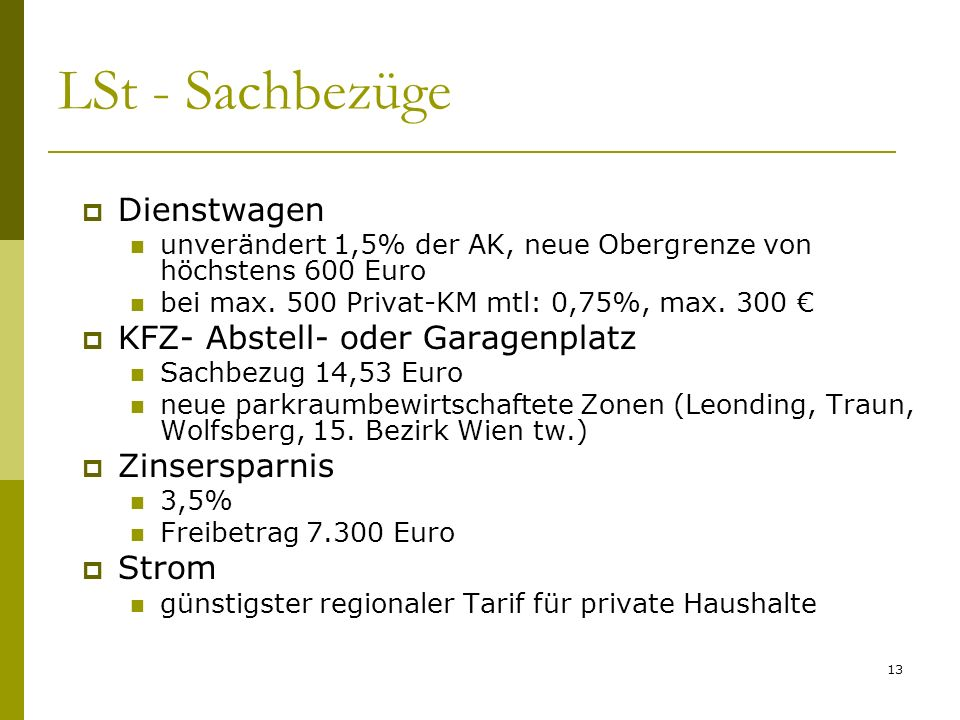 LSt - Sachbezüge Dienstwagen KFZ- Abstell- oder Garagenplatz