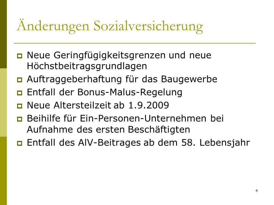 Änderungen Sozialversicherung