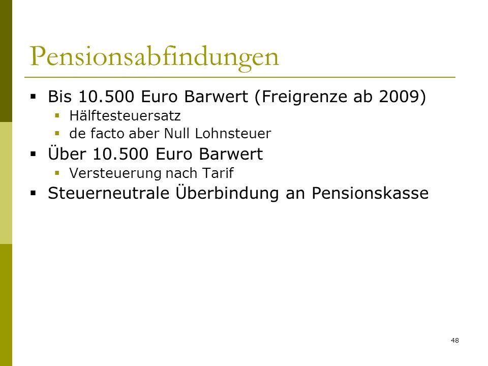 Pensionsabfindungen Bis 10.500 Euro Barwert (Freigrenze ab 2009)