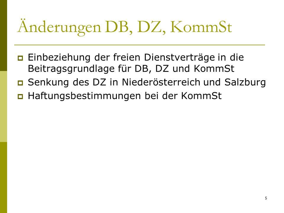 Änderungen DB, DZ, KommSt