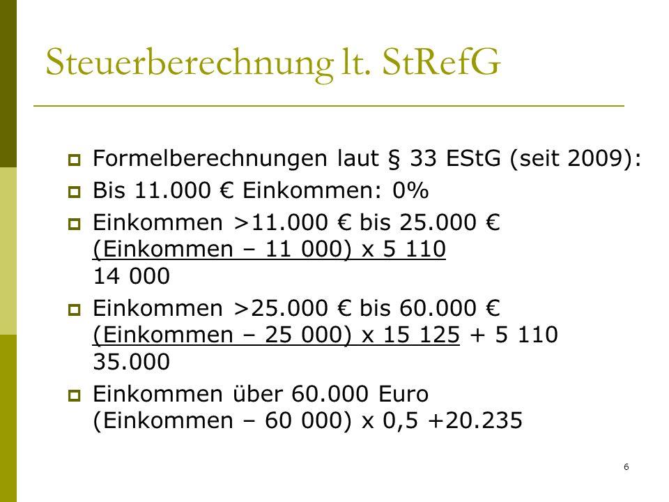 Steuerberechnung lt. StRefG