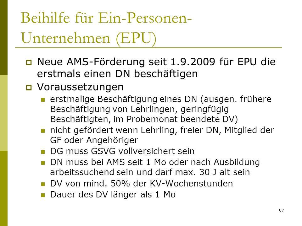 Beihilfe für Ein-Personen-Unternehmen (EPU)