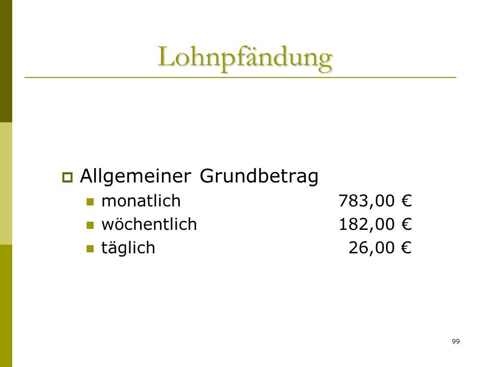 Lohnpfändung Allgemeiner Grundbetrag monatlich 783,00 €