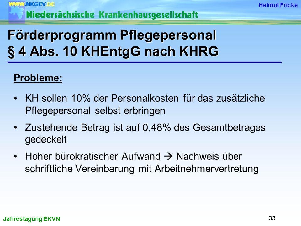 Förderprogramm Pflegepersonal § 4 Abs. 10 KHEntgG nach KHRG