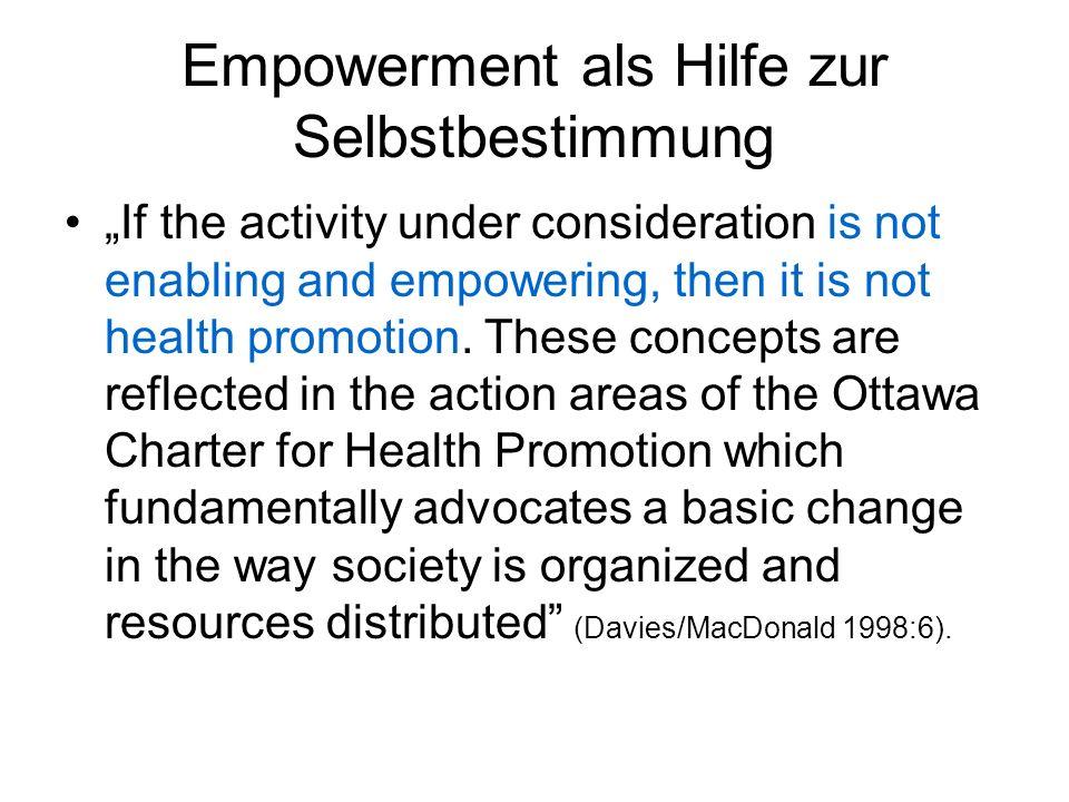 Empowerment als Hilfe zur Selbstbestimmung