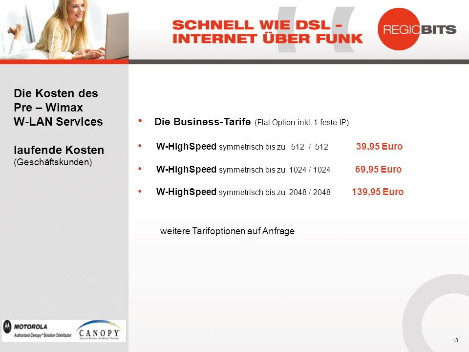 Die Business-Tarife (Flat Option inkl. 1 feste IP)
