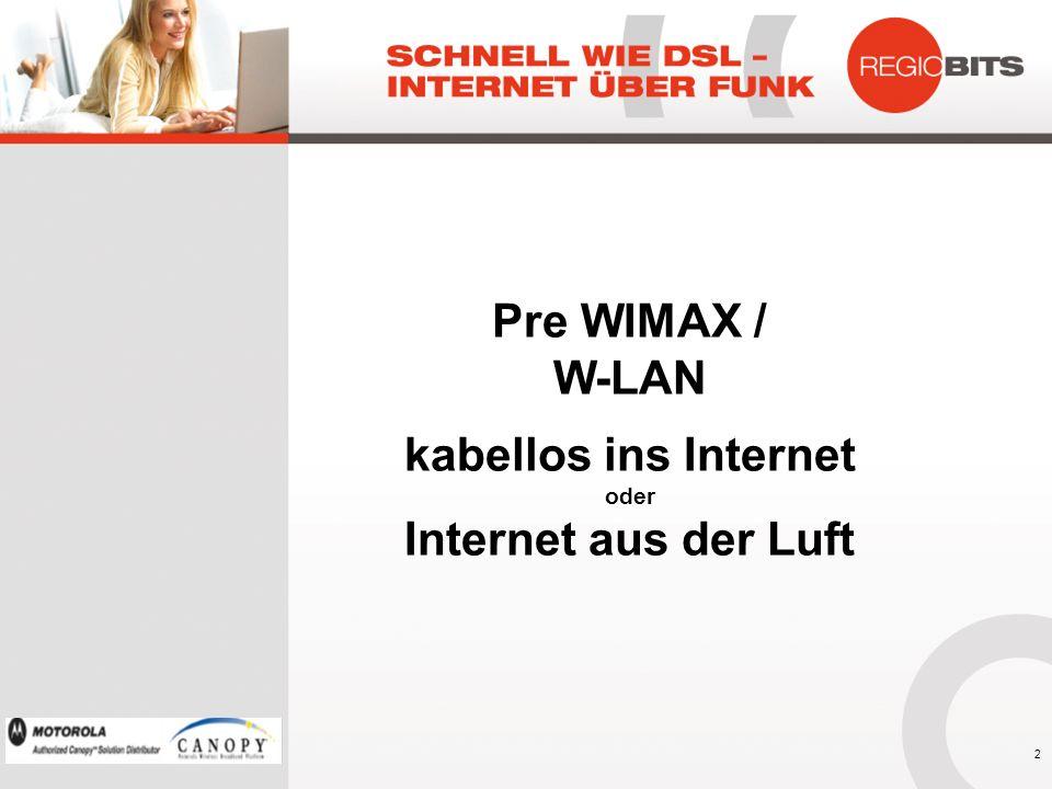 Pre WIMAX / W-LAN kabellos ins Internet Internet aus der Luft