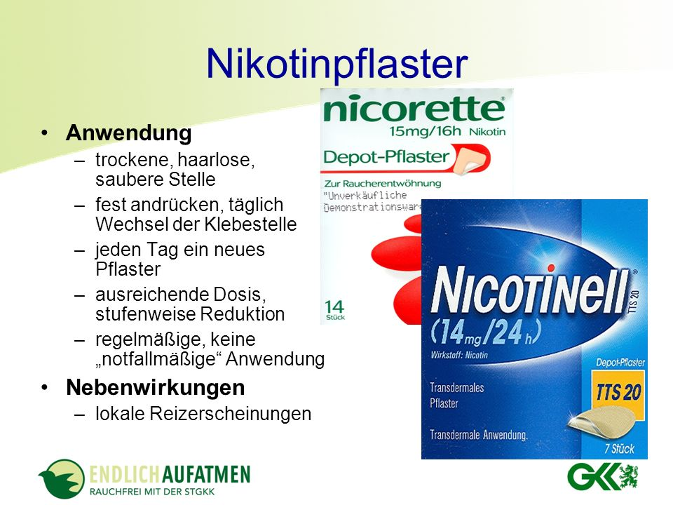 Nikotinpflaster Anwendung Nebenwirkungen