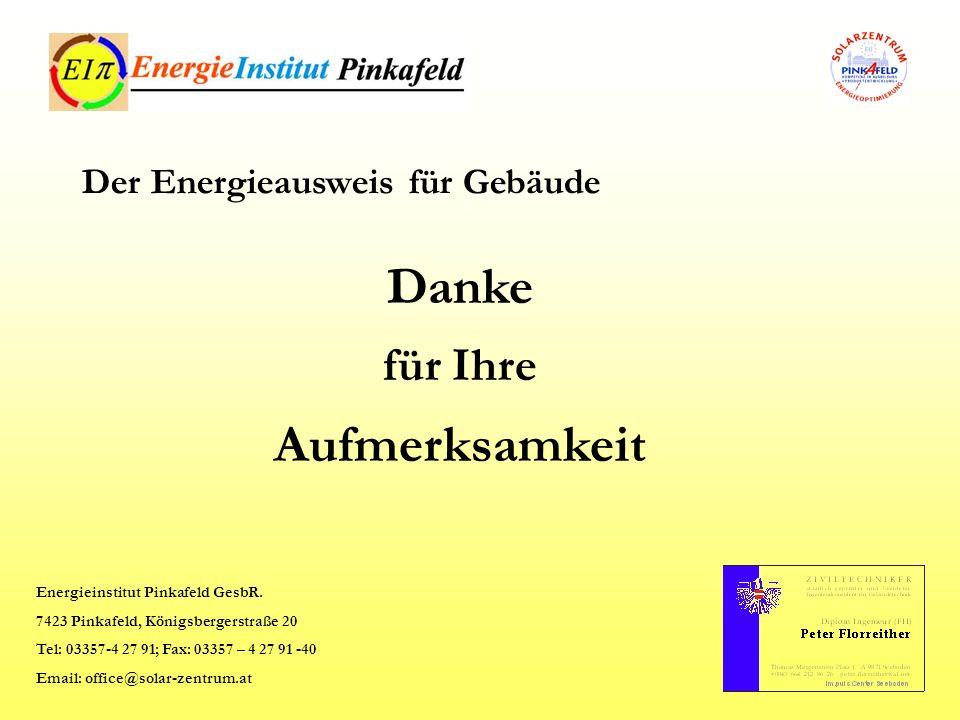 Danke Aufmerksamkeit für Ihre Der Energieausweis für Gebäude