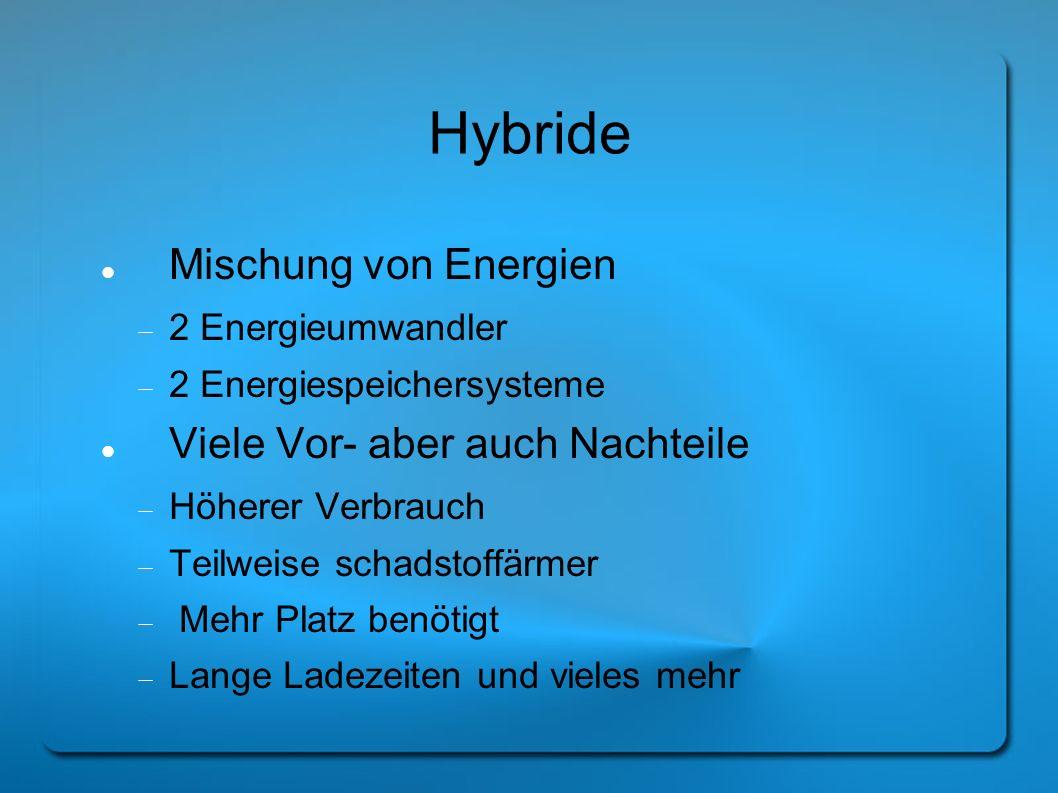 Hybride Mischung von Energien Viele Vor- aber auch Nachteile