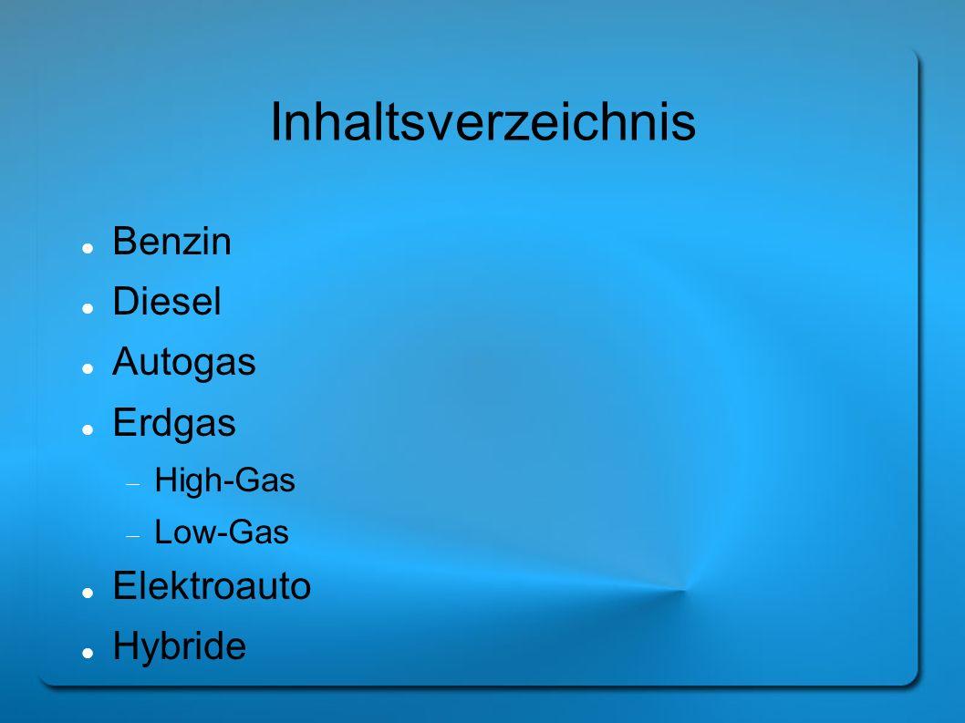 Inhaltsverzeichnis Benzin Diesel Autogas Erdgas Elektroauto Hybride