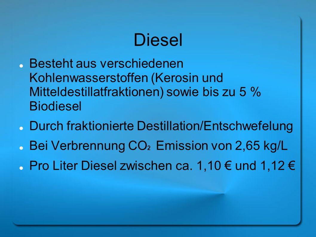 Diesel Besteht aus verschiedenen Kohlenwasserstoffen (Kerosin und Mitteldestillatfraktionen) sowie bis zu 5 % Biodiesel.