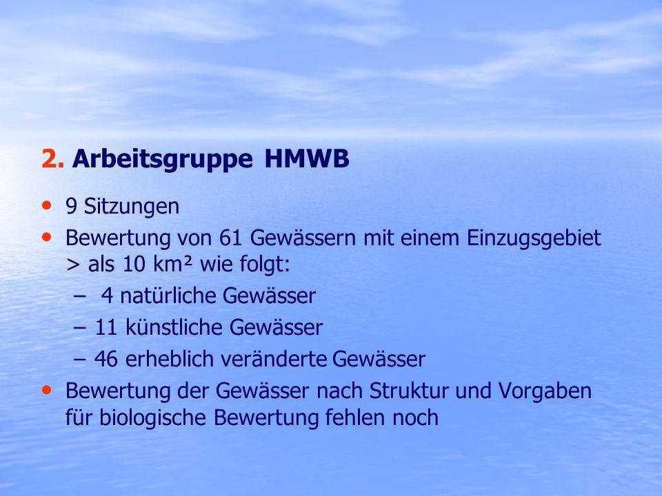 2. Arbeitsgruppe HMWB 9 Sitzungen
