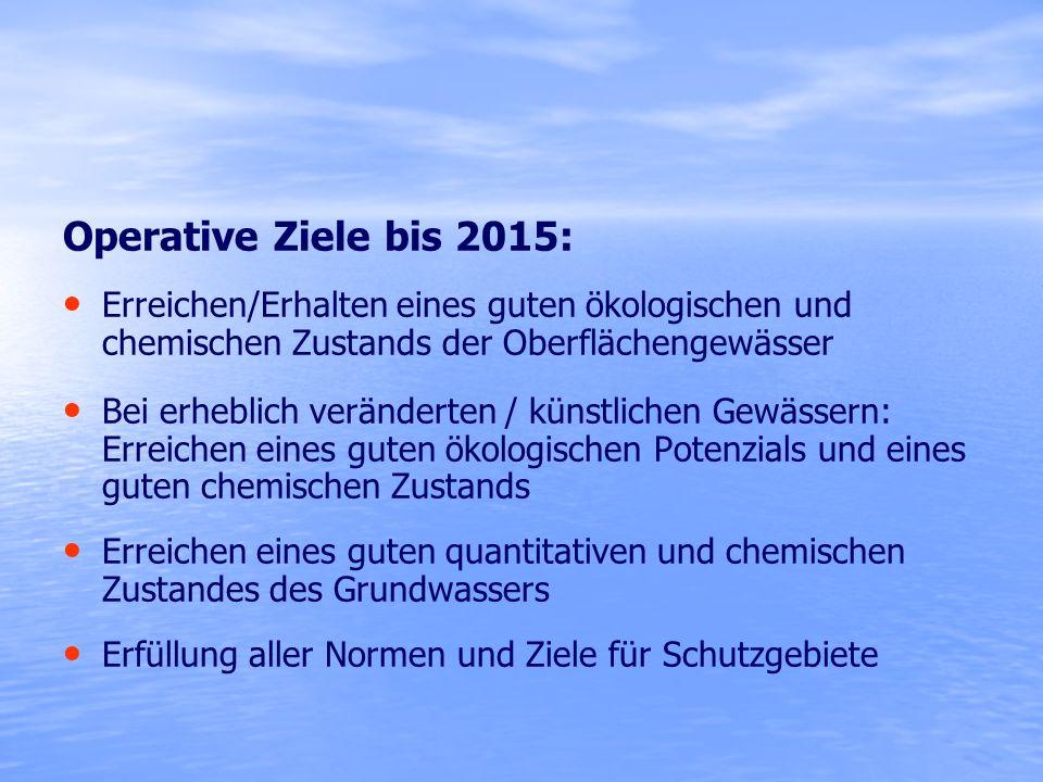 Operative Ziele bis 2015: Erreichen/Erhalten eines guten ökologischen und chemischen Zustands der Oberflächengewässer.