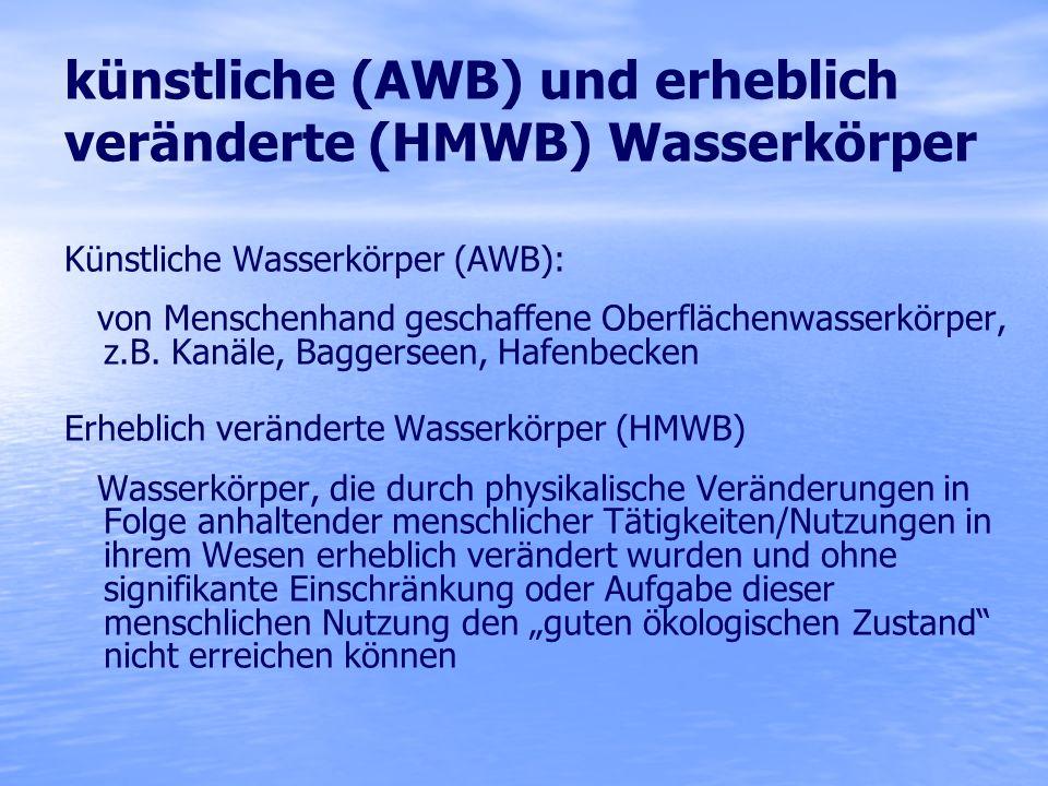 künstliche (AWB) und erheblich veränderte (HMWB) Wasserkörper