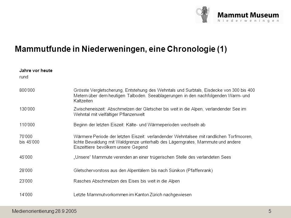 Mammutfunde in Niederweningen, eine Chronologie (1)