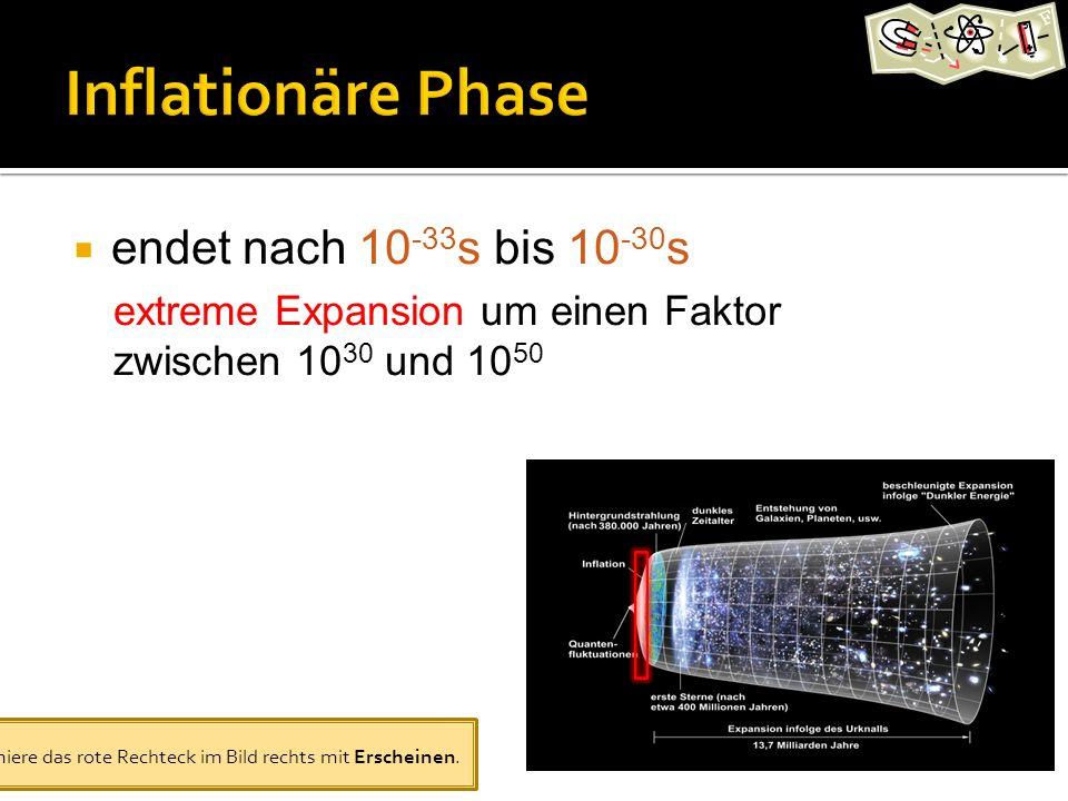 endet nach 10-33s bis 10-30s extreme Expansion um einen Faktor zwischen 1030 und 1050.