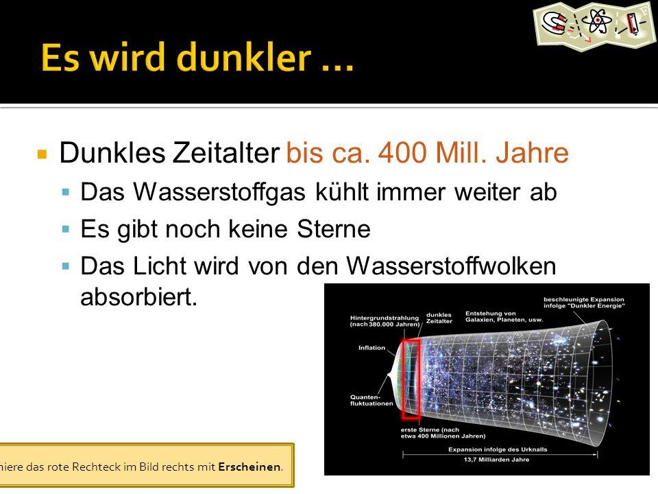 Dunkles Zeitalter bis ca. 400 Mill. Jahre