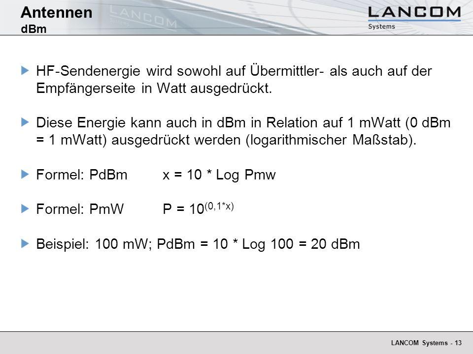Antennen dBm HF-Sendenergie wird sowohl auf Übermittler- als auch auf der Empfängerseite in Watt ausgedrückt.