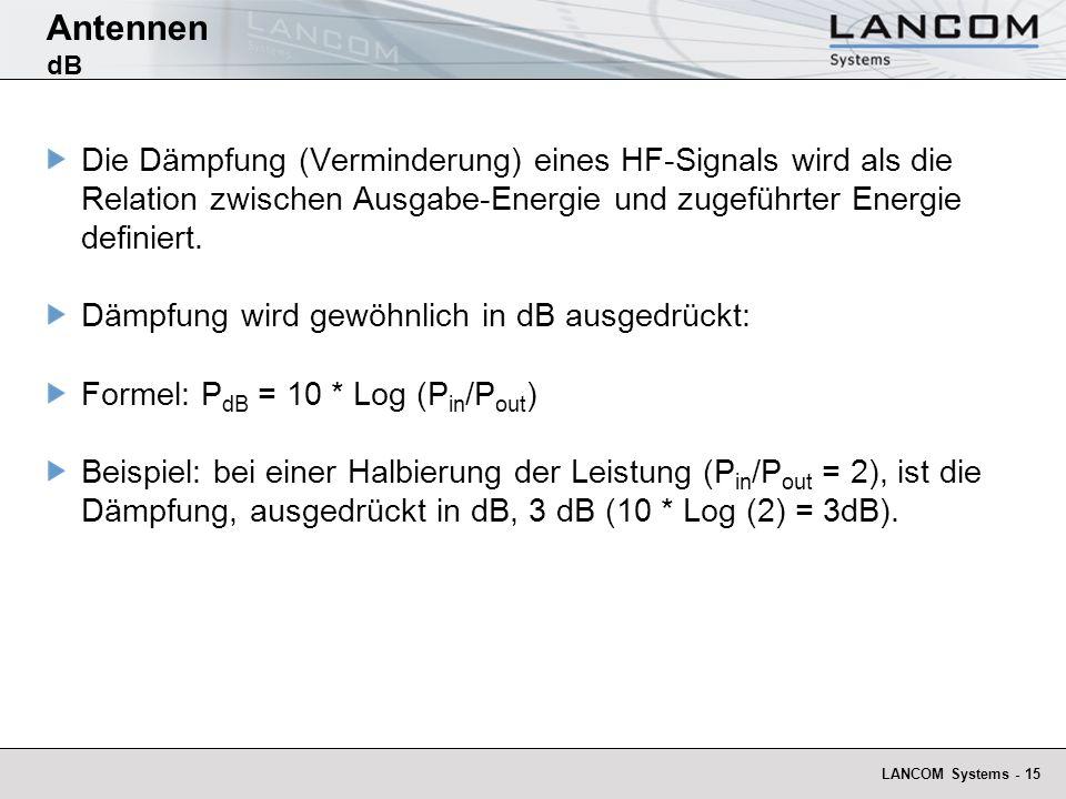 Antennen dB Die Dämpfung (Verminderung) eines HF-Signals wird als die Relation zwischen Ausgabe-Energie und zugeführter Energie definiert.