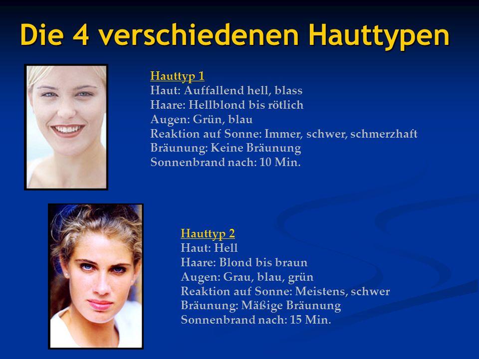 Die 4 verschiedenen Hauttypen