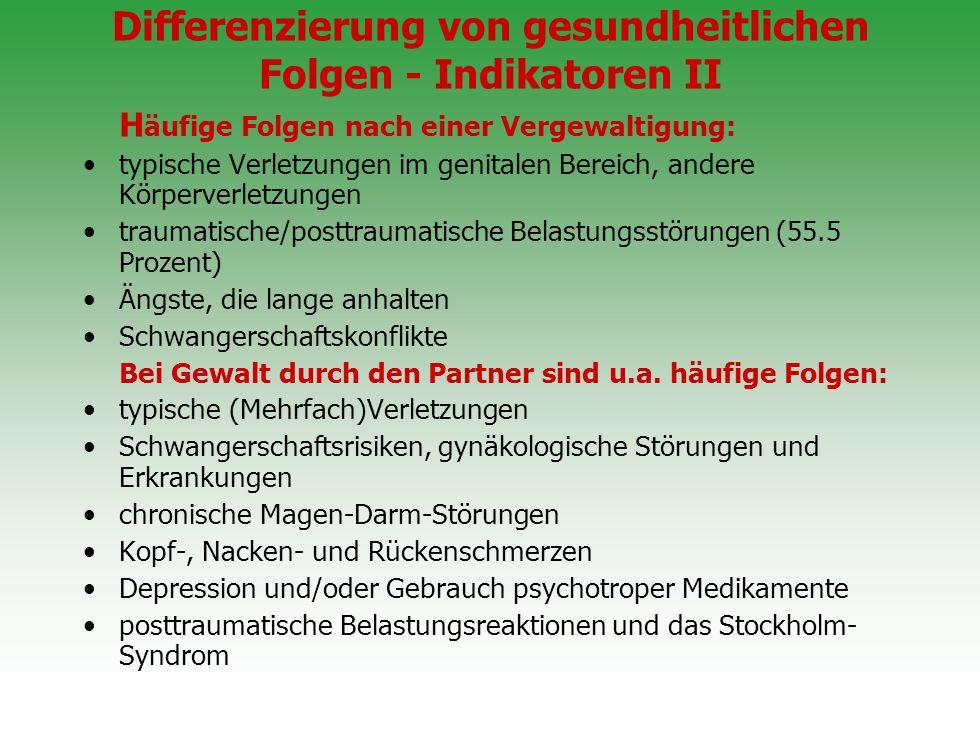 Differenzierung von gesundheitlichen Folgen - Indikatoren I
