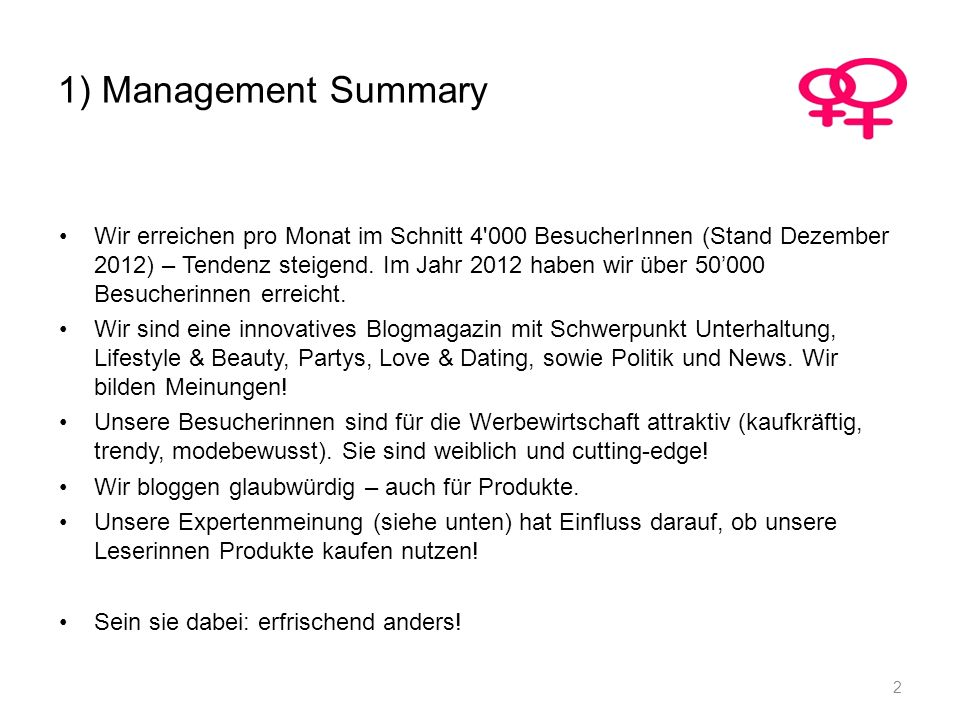 1) Management Summary