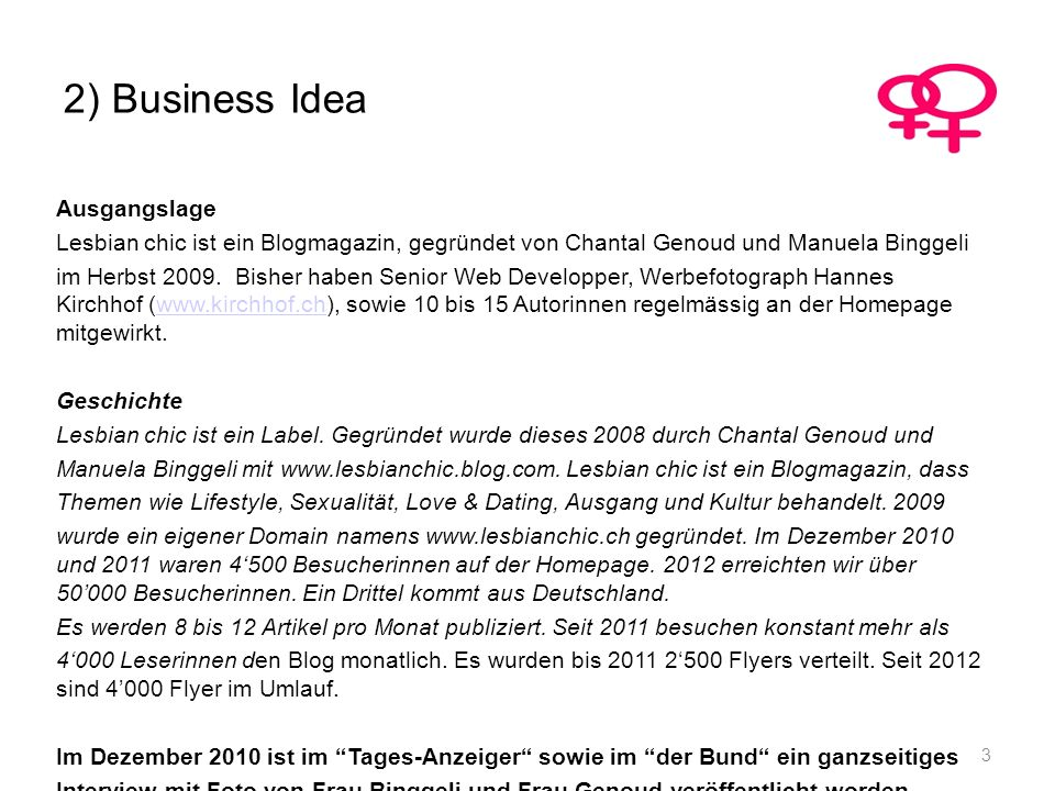 2) Business Idea Ausgangslage