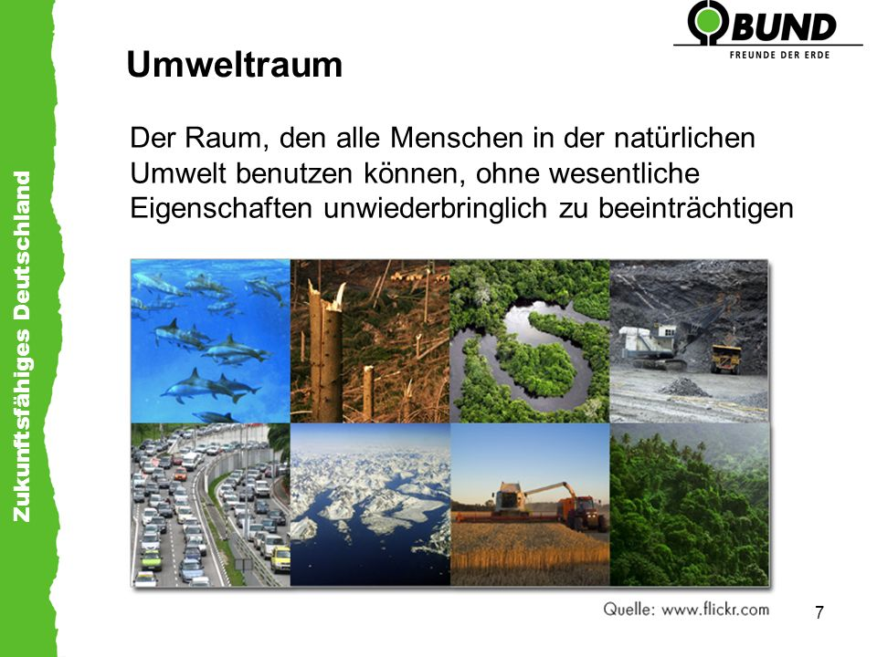 Umweltraum Der Raum, den alle Menschen in der natürlichen Umwelt benutzen können, ohne wesentliche Eigenschaften unwiederbringlich zu beeinträchtigen.