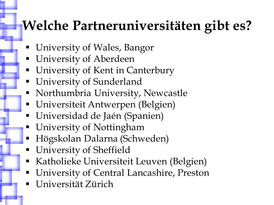 Welche Partneruniversitäten gibt es