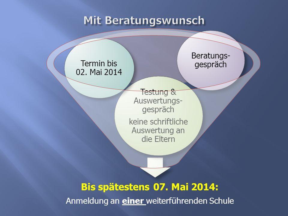 Mit Beratungswunsch Bis spätestens 07. Mai 2014: