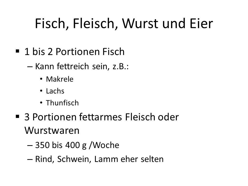 Fisch, Fleisch, Wurst und Eier