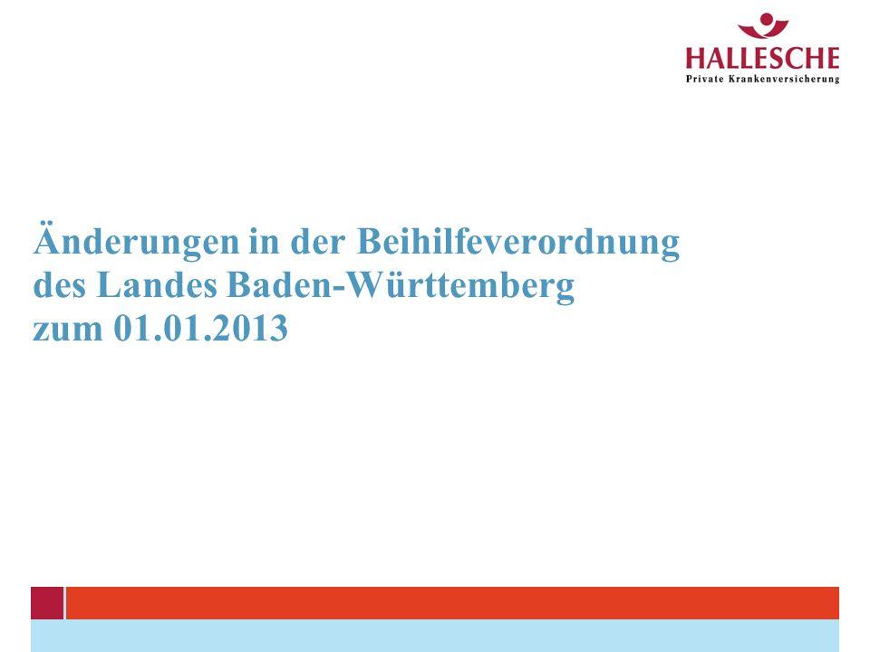 Änderungen in der Beihilfeverordnung des Landes Baden-Württemberg zum 01.01.2013