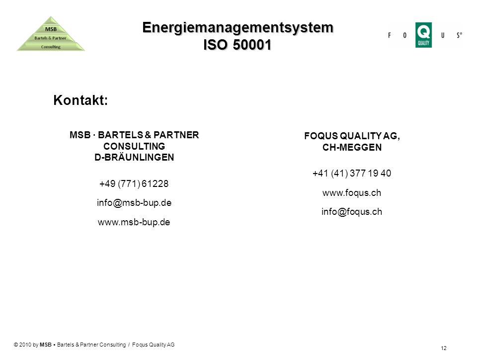 Energiemanagementsystem MSB · BARTELS & PARTNER CONSULTING
