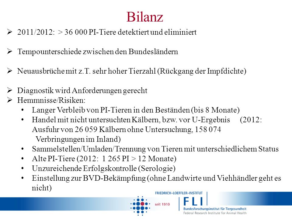Bilanz 2011/2012: > 36 000 PI-Tiere detektiert und eliminiert
